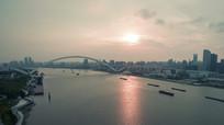 航拍上海世博源黄浦江沿岸广场