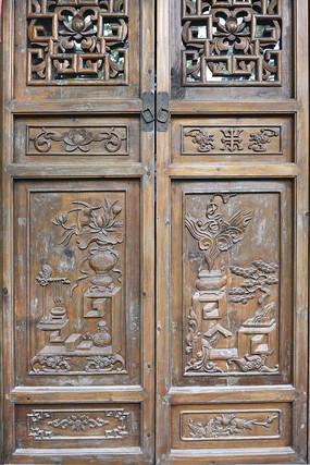 门饰木雕博古宝瓶