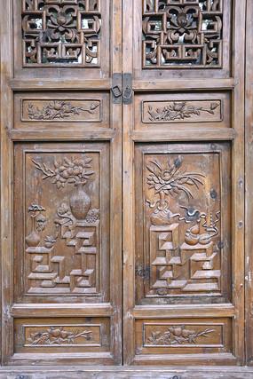 门饰木雕博古花卉