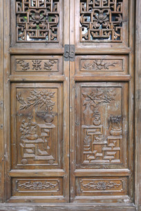 门饰木雕博古纹