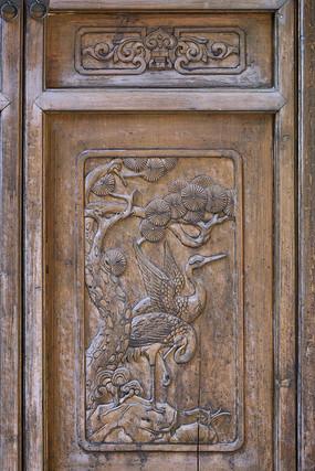 门饰木雕仙寿图