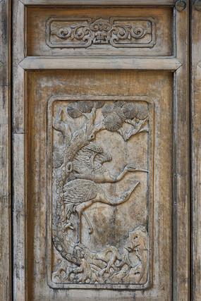 仙鹤图案门饰木雕