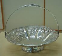 文物白银精品镂空梅兰竹菊纹圆形果篮
