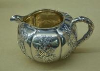 文物白银精品梅兰竹菊纹奶缸