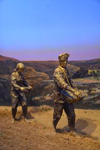 雕像北京知青播种粮食