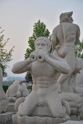 雕像吹号的鱼人