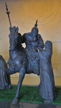 雕像蒙古骑士告别家人