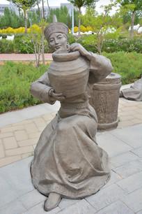 雕像蒙古提缸的女子