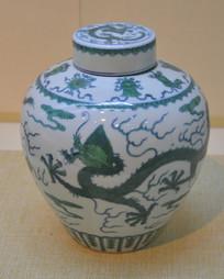 文物白地青花绿龙纹瓷盖罐