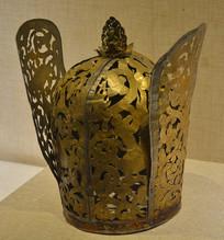 文物高翅鎏金折花银冠