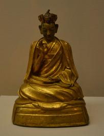 文物鎏金白丹意希宁波铜坐像