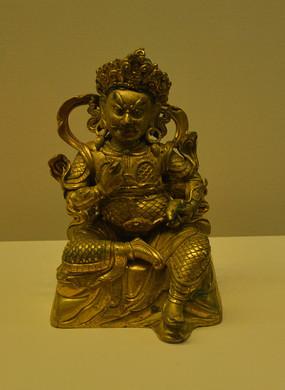 文物鎏金财宝天王铜像