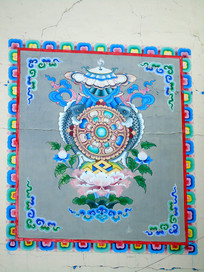 藏传佛教吉祥八宝图案壁画
