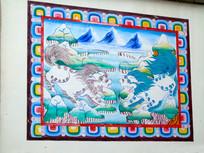 藏传佛教吉祥双狮图案