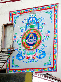 藏传佛教吉祥水流图案壁画