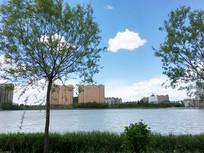 人工湖蓝天白云