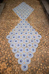 青花瓷图案的地面