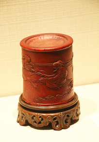 清竹雕人物茶盒