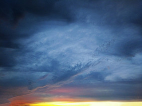 油画烧霞天空