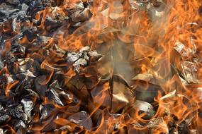 焚烧的冥钱元宝