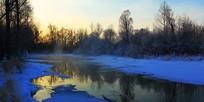 冰雪河流朝阳风景 全景高清