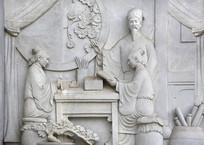 浮雕石刻私塾苦读