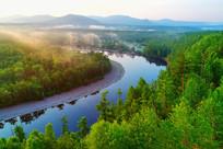 森林河流朝阳云雾