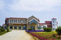 锦州世博园建筑与花草地