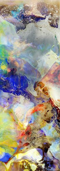 水墨电分 流彩抽象画 玄关壁画