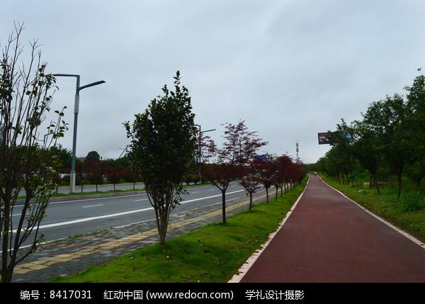 宽阔的马路和笔直的步道图片