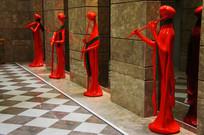 女子演奏雕塑