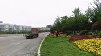 城市绿化作业的人们