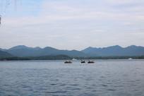 西湖划船素材