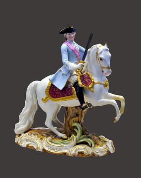 彩绘骑兵塑像