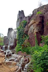 红褐色假山石景观