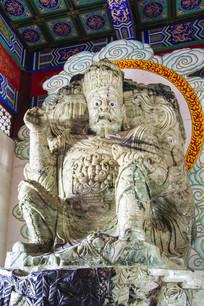 西方广目天王玉石雕像