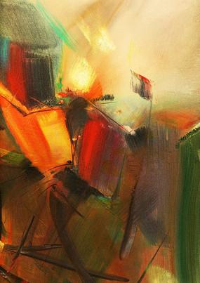 红红火火抽象油画艺术装饰画
