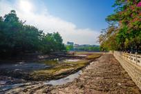 被抽干水的惠州西湖