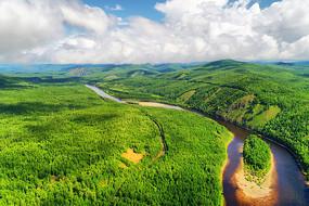 绿色林海激流河 (航拍)