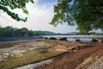 被抽干水的惠州西湖和圆通桥