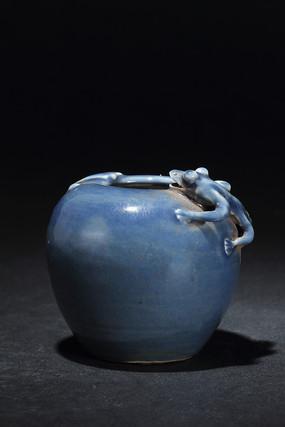 蓝釉螭龙水盂
