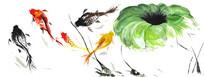 彩色手绘鱼和荷叶
