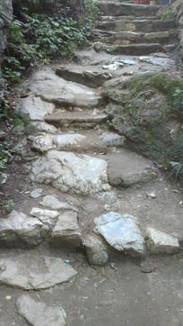 登山的石头台阶