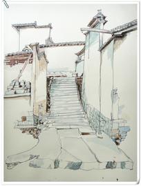 建筑水彩写生绘画