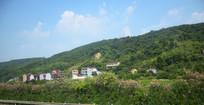 绿色山脉间的房屋