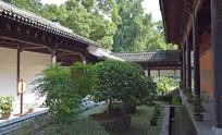 寺院建筑和绿植盆景