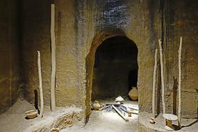 菜园遗址古人类居住窑洞复原