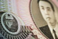 朝鲜100元钞票微距特写