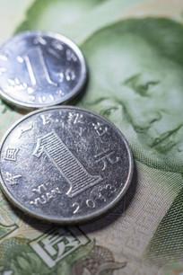 人民币一元和一角特写
