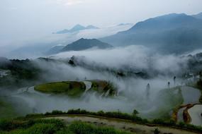 云雾中的梯田